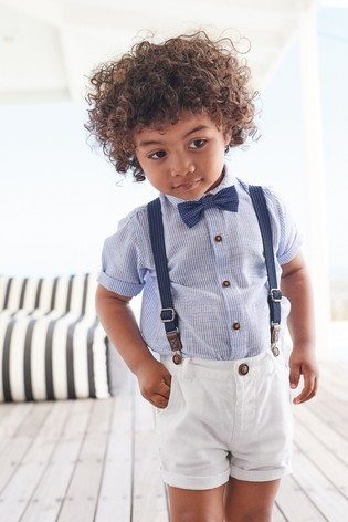 cheaper hot-selling clearance many fashionable Buy Blue/White Shirt, Shorts, Braces And Bow Tie Set (3mths ...