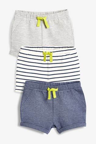 8a7f7f1a9 Buy Blue/Grey Shorts Three Pack (0mths-2yrs) from the Next UK online ...