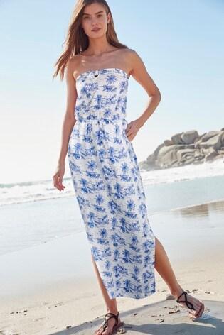 26286b6777d3ba9 Buy China Print Bandeau Maxi Dress from Next Ukraine
