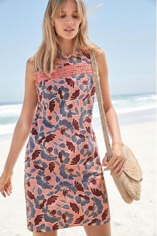 6634374544 Buy Pink Floral Linen Blend Shift Dress from the Next UK online shop