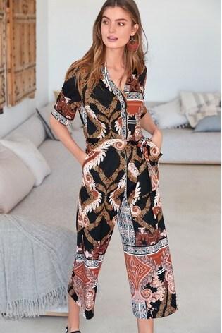 fd4511d0ee5 Buy Black Paisley Tie Front Jumpsuit from the Next UK online shop