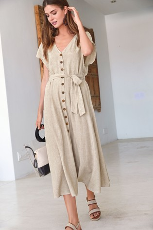 deaf6c2998 Buy Stone Linen Blend Button Detail Midi Dress from the Next UK ...