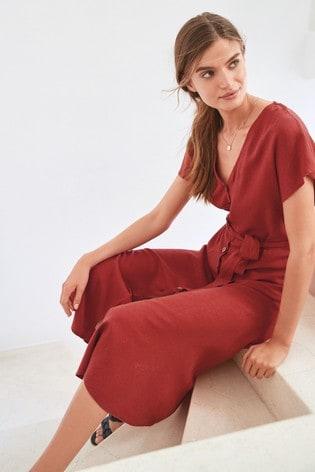 7b67762e2a Buy Rust Linen Blend Button Detail Midi Dress from the Next UK ...