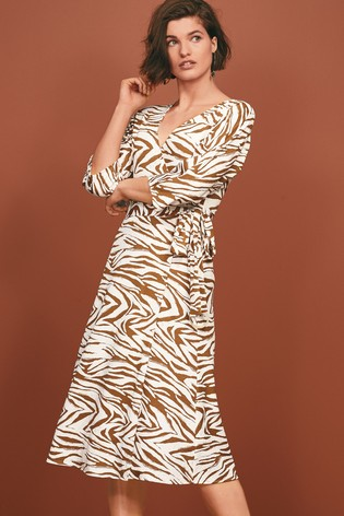 Ecru Zebra Jersey Wrap Dress