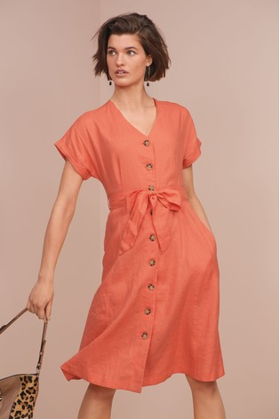 069df805db5 Buy Coral Button Through Linen Dress from the Next UK online shop