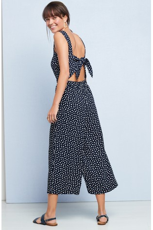 722578a05703 Buy Navy Heart Crepe Square Neck Jumpsuit from the Next UK online shop