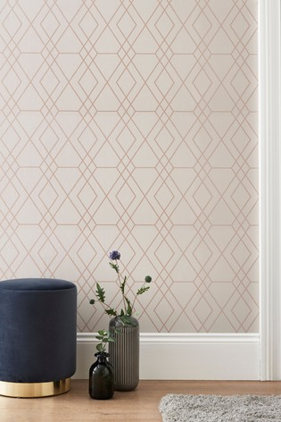 Paste The Wall Rose Gold Geo Wallpaper