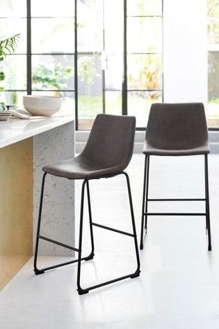 Groovy Set Of 2 Wyatt Black Leg Bar Stools Beatyapartments Chair Design Images Beatyapartmentscom