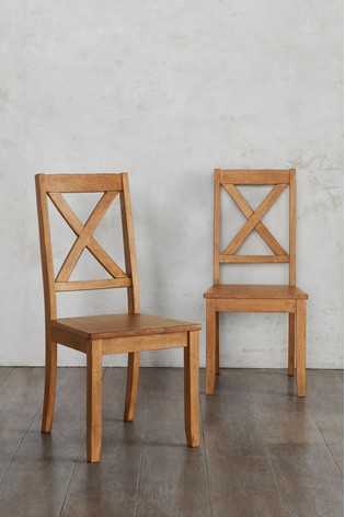 Mid Brown Set of 2 Crossback Wooden Chairs