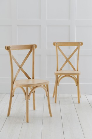 Natural Set Of 2 Bistro Dining Chairs