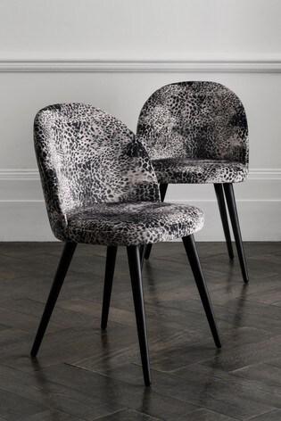 Opulent Velvet Leopard Set of 2 With Black Legs