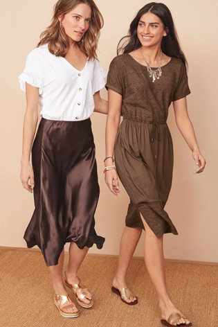 8b408392351a Buy Chocolate Satin Midi Skirt from the Next UK online shop