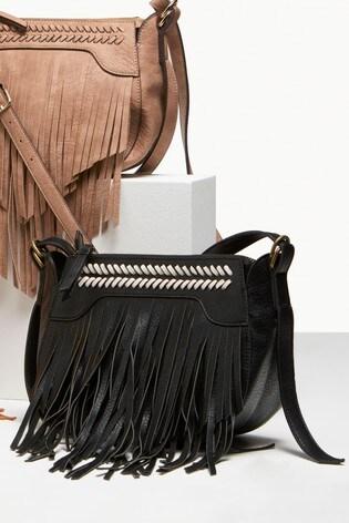 4af050df3032 Buy Black Fringed Across Body Bag from the Next UK online shop