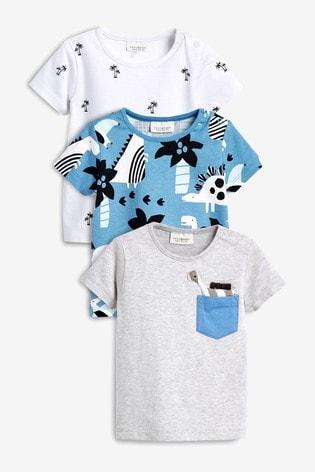 9b02000a64c88 Bleu Gris - Lot de trois t-shirts à imprimé dinosaures et tropical ...