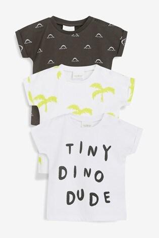 891aa35a4ac61 Monochrome - Lot de trois t-shirts imprimé dinosaure et inscription (0 mois  ...