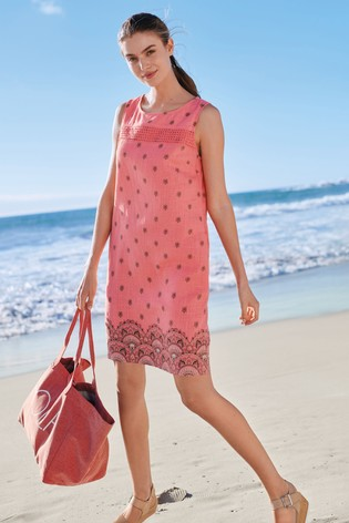 a136eff818 Buy Coral Paisley Linen Blend Shift Dress from the Next UK online shop