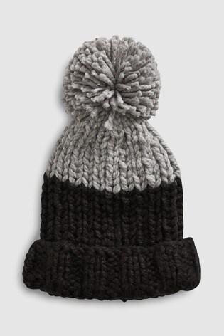 373acbb2564b from Next Slovakia Buy Black Grey Hand Knitted Pom Beanie Hat (Staršie)
