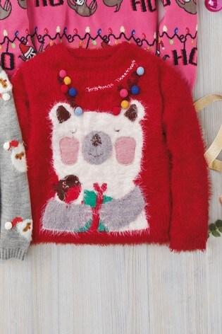 Kersttrui Meisje.From Next Netherlands Buy Red Girls Christmas Polar Bear Jumper 3