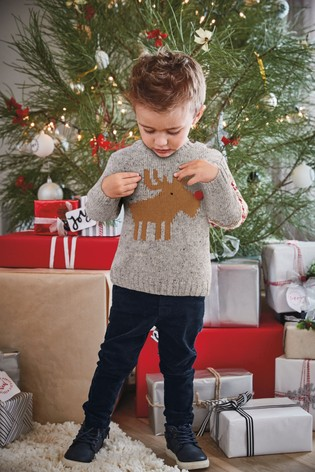 Kersttrui 68.From Next Netherlands Buy Grey Christmas Reindeer Knit 3 Mnd 6 Jr