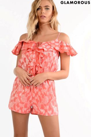 buy glamorous petite cold shoulder printed playsuit from next qatar