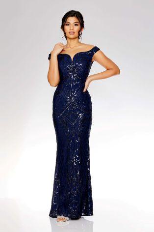 Buy Quiz Embellished Bardot Fishtail Maxi Dress From The Next Uk