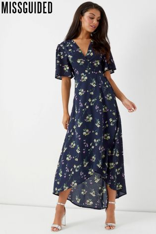 Buy Missguided High Low Wrap Front Midi Tea Dress From The Next Uk