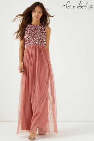 lace beads embellished party maxi dress