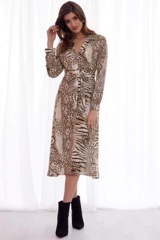Buy Lipsy Animal Print Midi Shirt Dress from Next Ireland b93744836