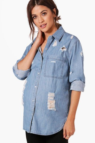 9c94fb754a Buy Boohoo Maternity Distressed Oversized Denim Shirt from the Next ...