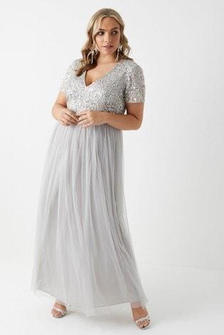 4c990f0df0 Buy Maya Curve V neck Short Sleeve Sequin Maxi Dress from Next Cyprus