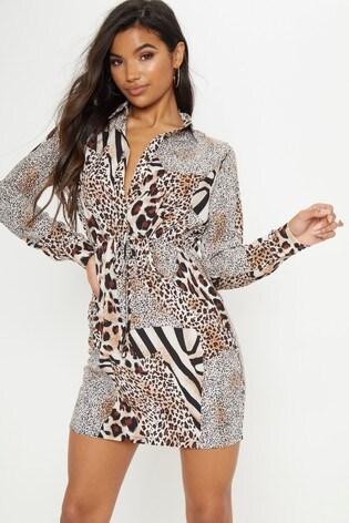 Buy PrettyLittleThing Animal Print Shirt Dress from Next Ireland 5e41b0204