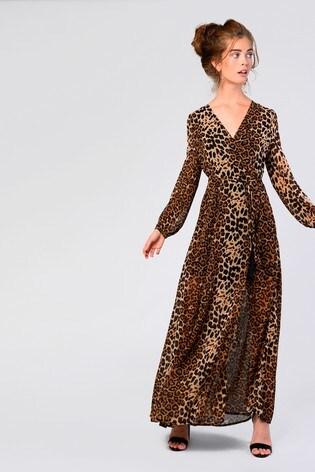 57dda62a6b56 Buy Glamorous Animal Print Wrap Around Maxi Dress from Next USA