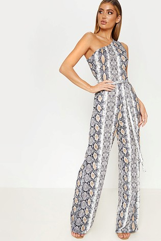 31e37be9ea5e0 Buy PrettyLittleThing Snake Print One Shoulder Jumpsuit from the ...