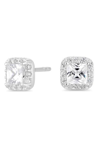 83f619da4 Simply Silver Sterling Silver 925 Cubic Zirconia Square Halo Stud Earring