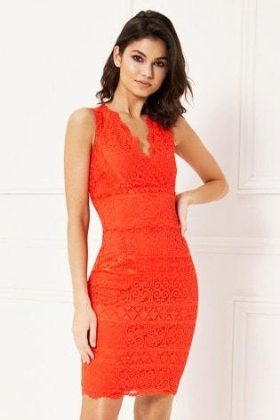 53ba217d8 Buy Lipsy V neck Lace Bodycon Dress from the Next UK online shop