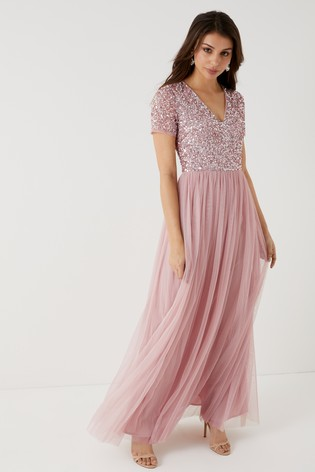 28b7e8ed010 Buy Maya Petite V neck Short Sleeve Sequin Maxi Dress from Next Ireland