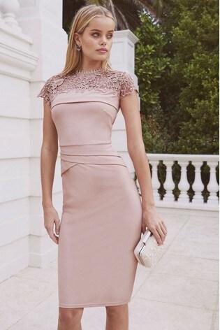13dd5358cb08 Buy Lipsy Scarlet Print Lace Bodycon Dress from Next Cyprus