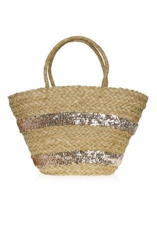 14942b817b Buy South Beach Straw Tote Sequin Beach Bag from Next Ireland