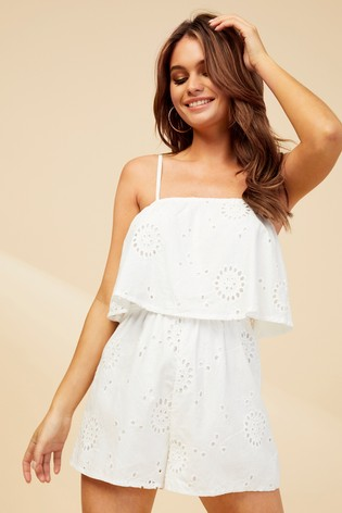 4eef259f Buy Missguided Cami Broderie Frill Playsuit from Next Cyprus