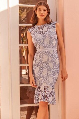 58aea4e1de Buy Lipsy Petite Two Tone Lace Flippy Hem Midi Dress from the Next ...