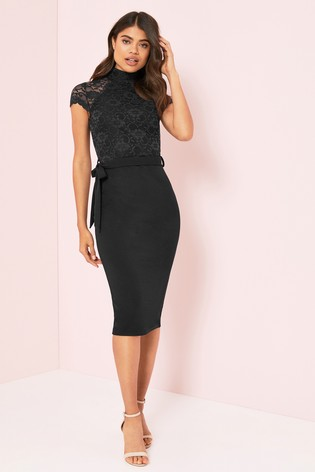 Buy Lipsy Lace High Neck Midi Dress From The Next Uk Online Shop