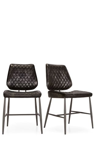 Faux Leather Tarnished Black Set Of 2 Carson Dining Chairs By Baker  Furniture ...