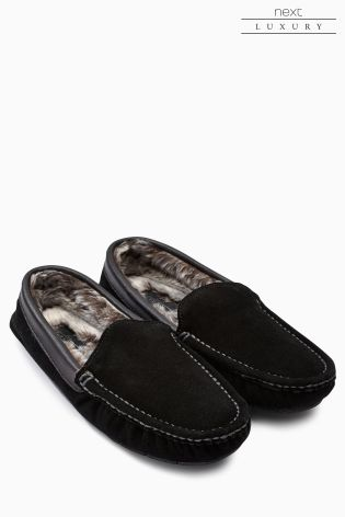 0d62887285 Buy Black Signature Luxury Suede Moccasin from Next India