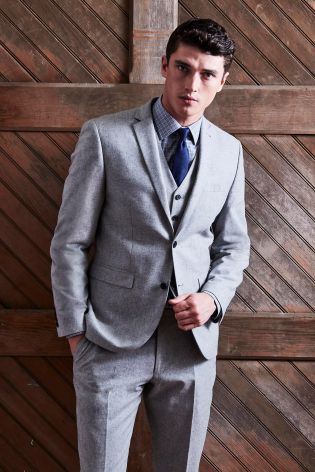 599d59c5989ea Buy Light Grey Slim Fit Nep Suit: Jacket from Next Poland