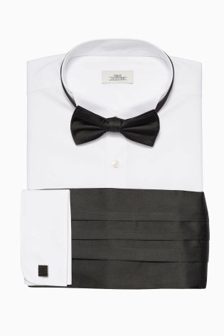Overhemd Manchetknopen.Buy White Regular Fit Double Cuff Wing Collared Shirt With Bow Tie