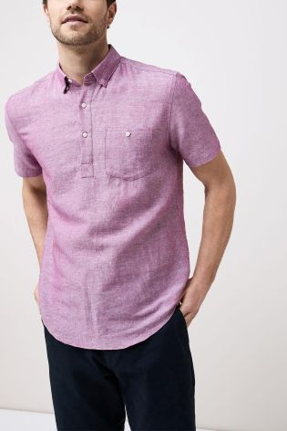 e0163bf20541a0 Buy Purple Short Sleeve Linen Blend Overhead Shirt from Next Netherlands