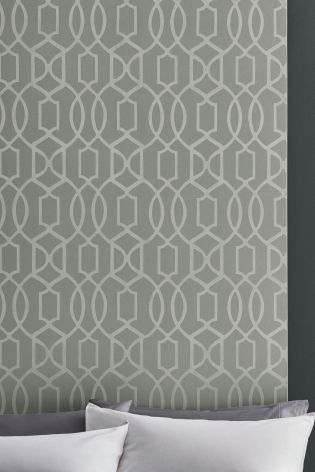Silver Paste The Wall Lattice Surface Print Wallpaper