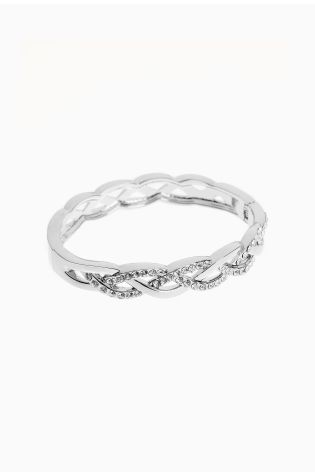 Buy Silver Tone Crystal Effect Hinge Bangle From Next Australia