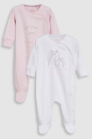 cf099ed5b Pink/White Mummy And Daddy Character Sleepsuits Two Pack (0mths-2yrs) ...