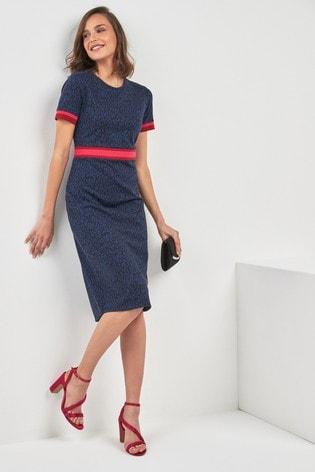5eb23d4227cd801 Темно-синий - Жаккардовое платье в рубчик со звериным принтом ...